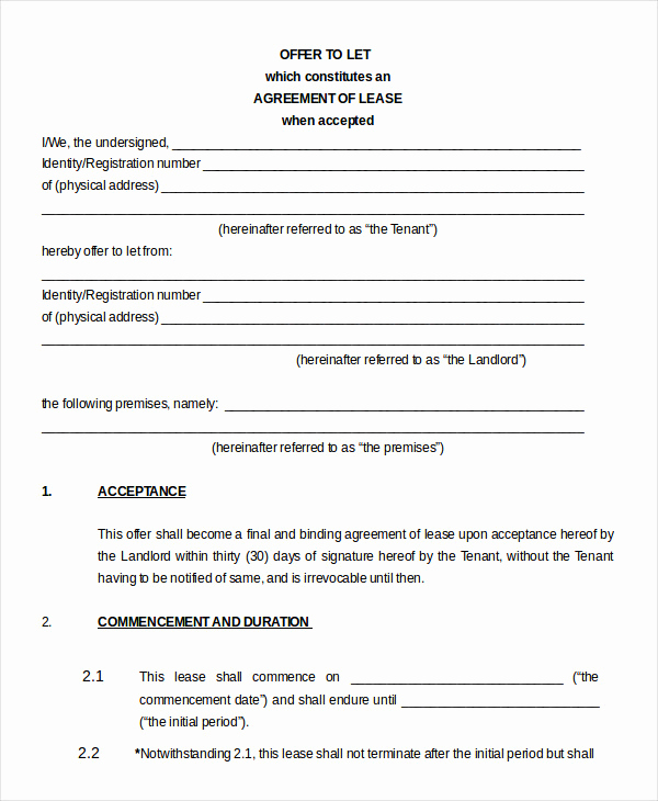 House Rental Agreement Template Elegant Property Leasing Agreement