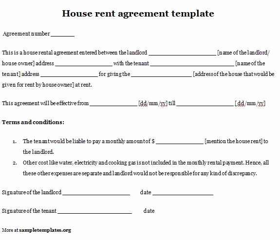 House Rental Agreement Template Fresh Printable Sample Simple Room Rental Agreement form