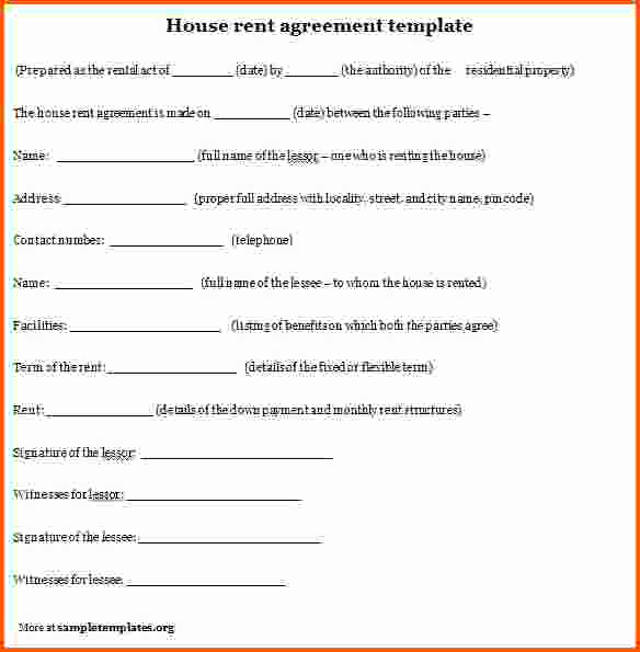 House Rental Agreement Template Luxury House Rent Agreement format