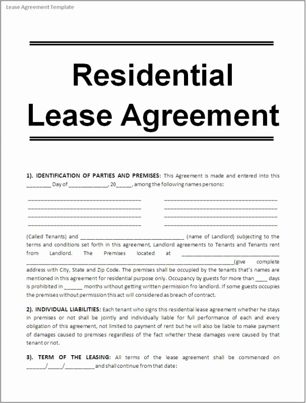 House Rental Agreement Template New Printable Lease Agreement