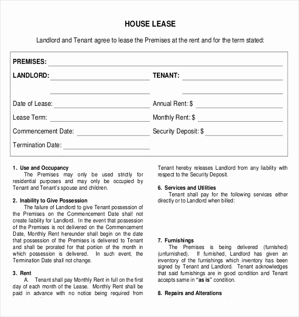 House Rental Agreement Template Unique Rental Agreement Template – 21 Free Word Pdf Documents