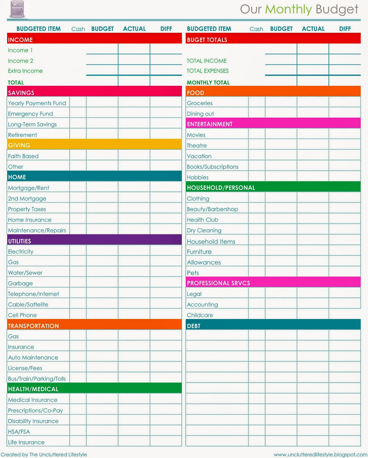 Household Budget Template Printable Luxury 2015 Planner More Free Printables Find Lifestyle