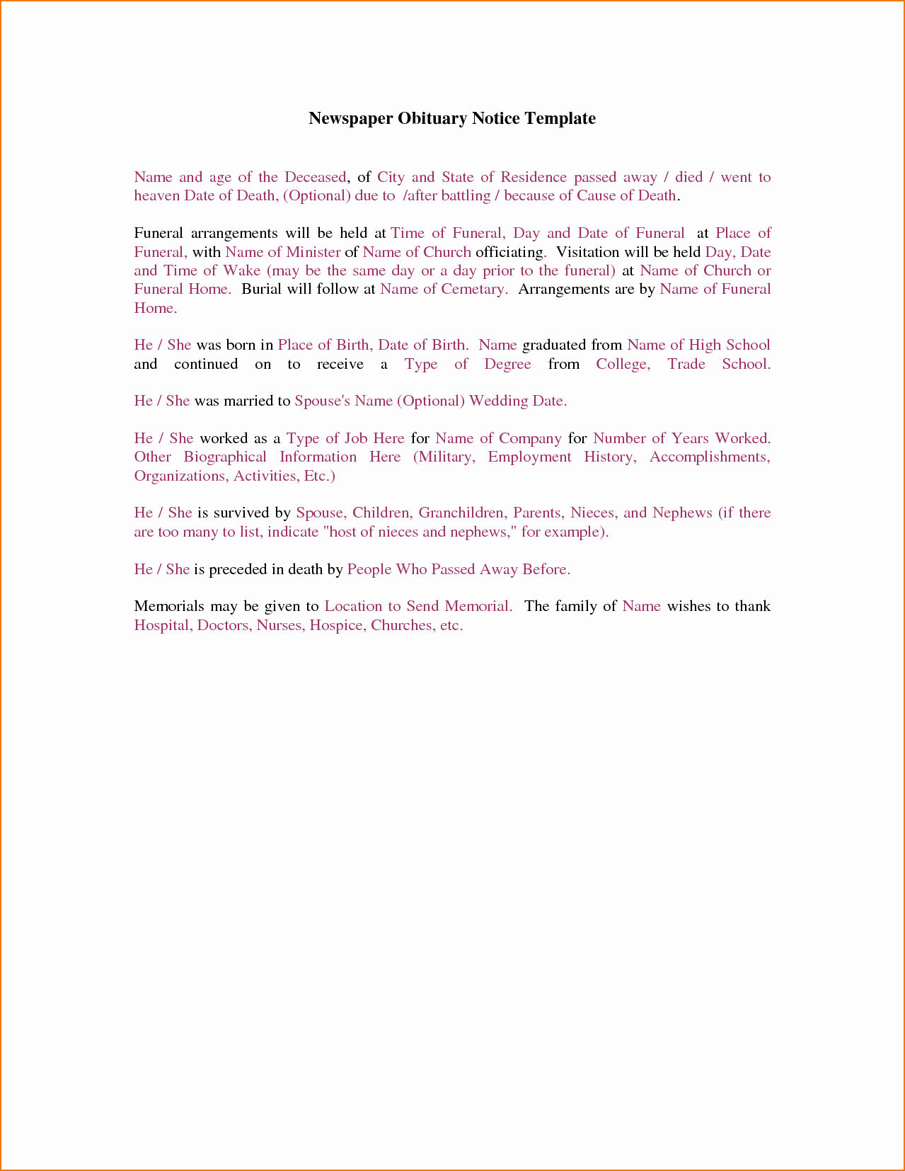 How to Make An Obituary Elegant 4 Newspaper Obituary Template