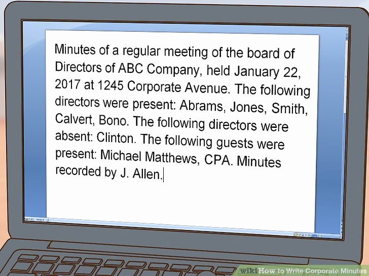 How to Write Minutes Inspirational How to Write Corporate Minutes with Wikihow