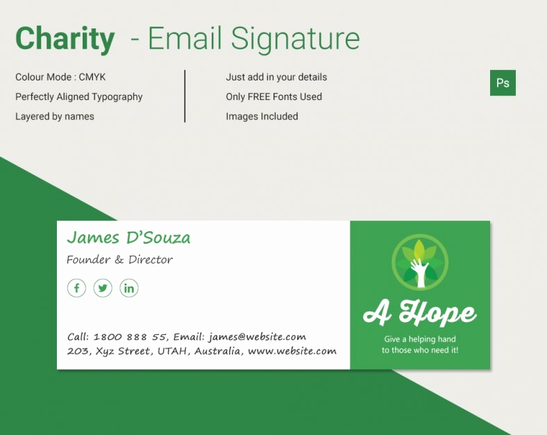 Html Email Signature Template Lovely Modern Charity HTML Email Signature