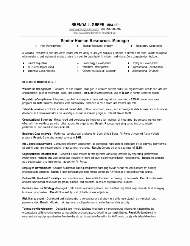 Human Resources Manager Resume Awesome Human Resource Manager Resume