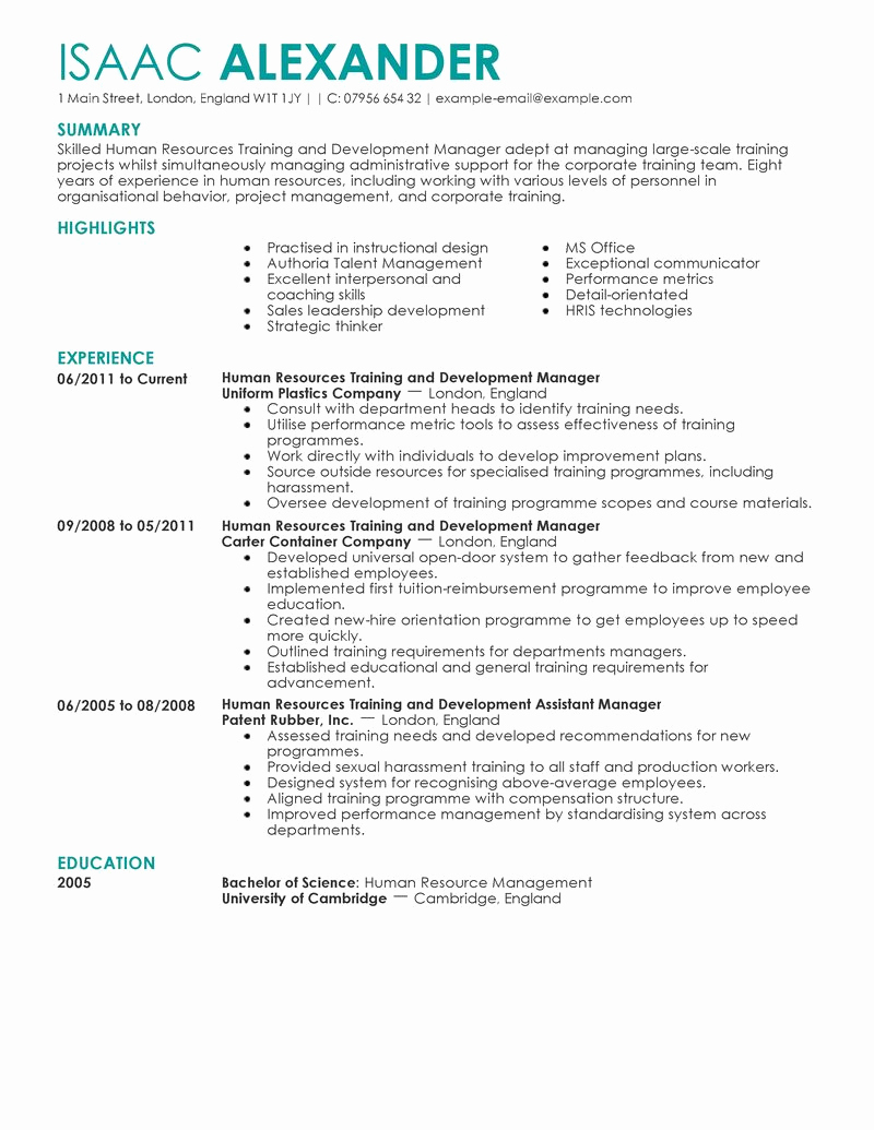 Human Resources Manager Resume Beautiful 7 Amazing Human Resources Resume Examples