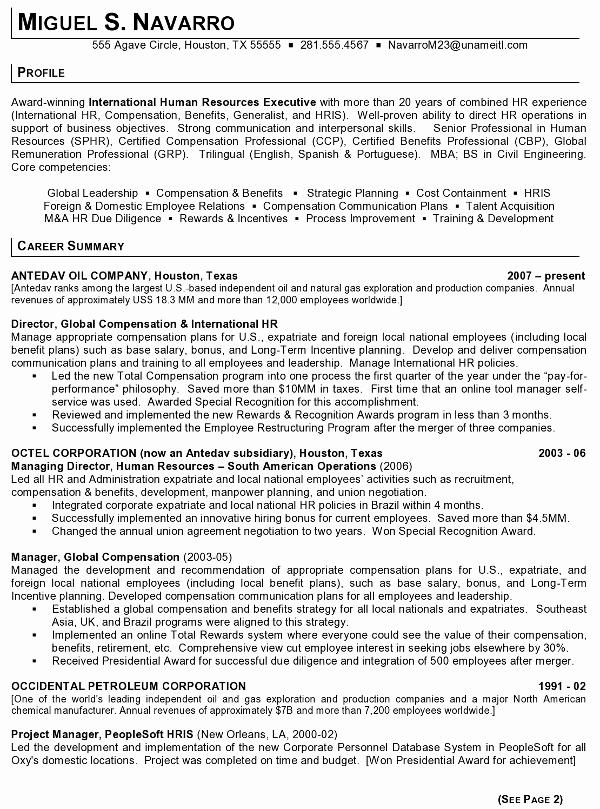Human Resources Manager Resume Beautiful Resume Sample 11 International Human Resource Executive