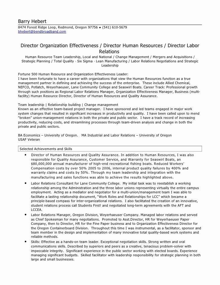 Human Resources Manager Resume Best Of Hr Director Resume
