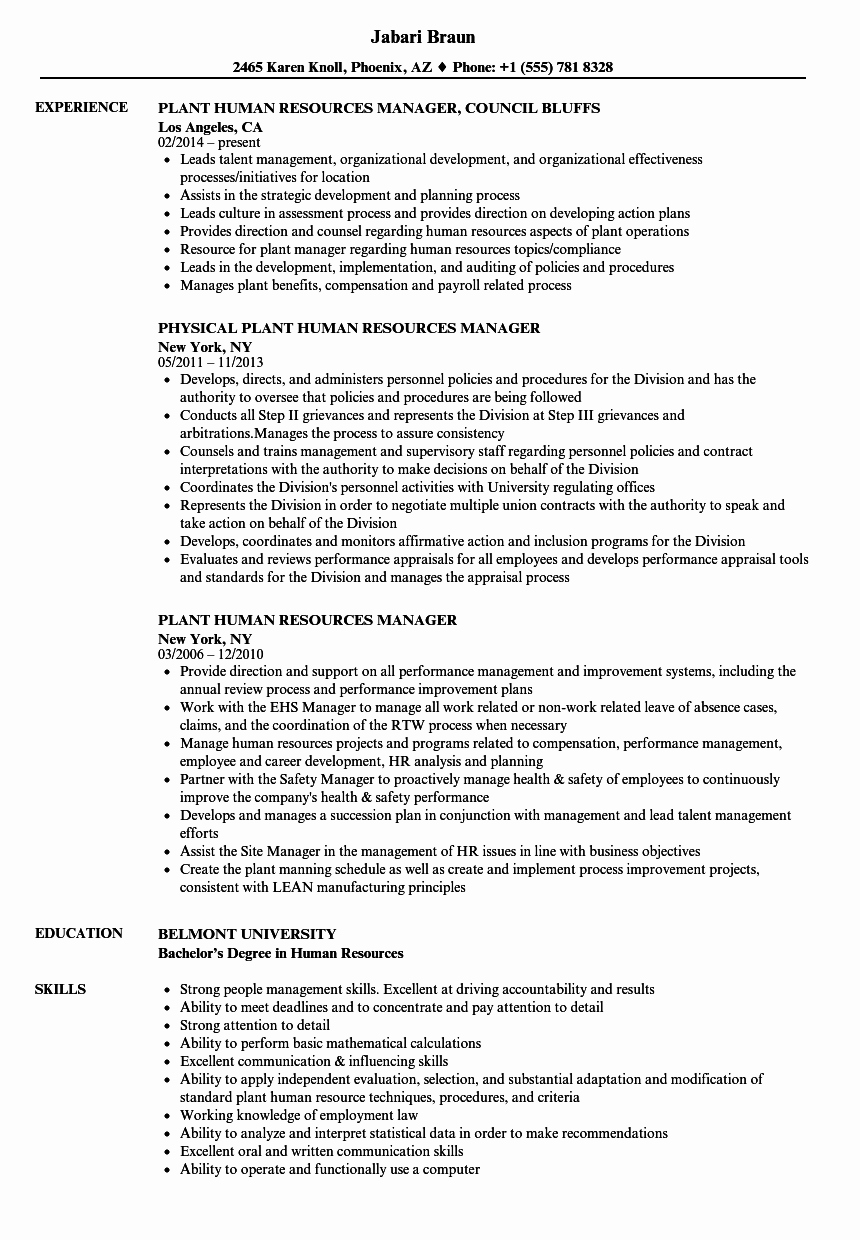 Human Resources Manager Resume Best Of Plant Human Resources Manager Resume Samples