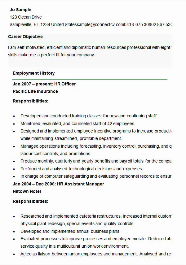 Human Resources Manager Resume Elegant 21 Hr Resume Templates Doc