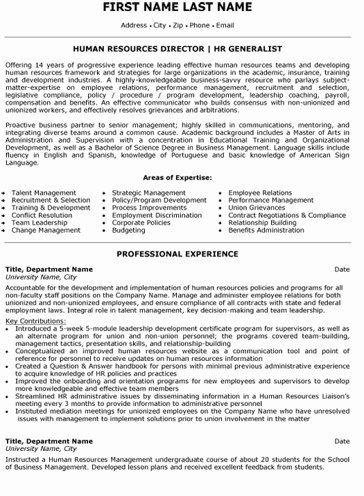 Human Resources Manager Resume Fresh Human Resource Director Resume Sample & Template