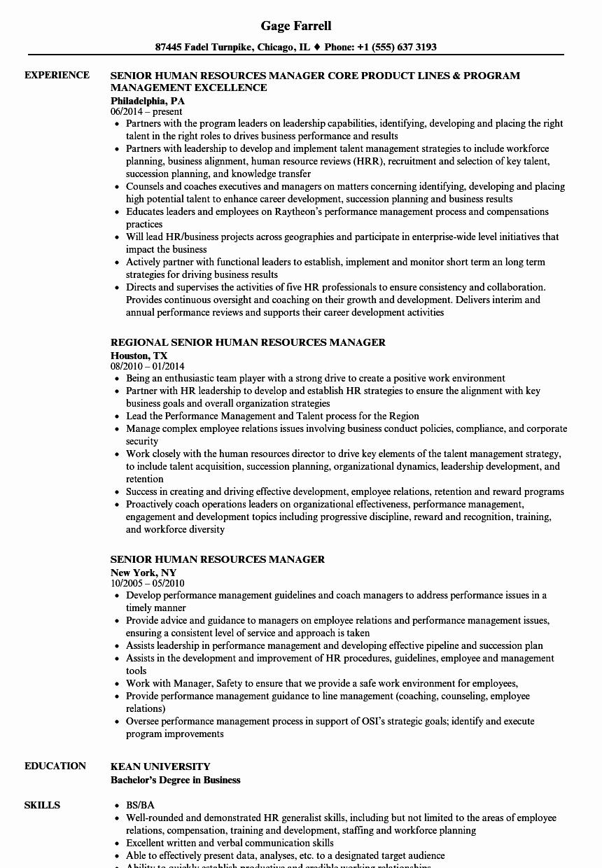 Human Resources Manager Resume Fresh Senior Human Resources Manager Resume Samples
