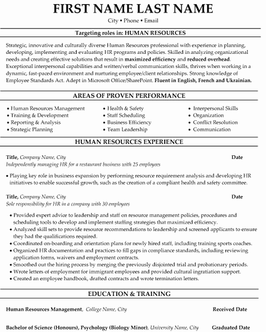 Human Resources Manager Resume Fresh top Human Resources Resume Templates & Samples