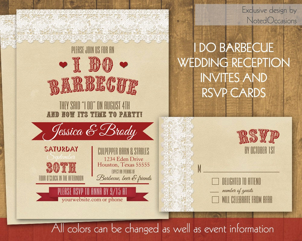 I Do Bbq Invitations Best Of I Do Bbq Wedding Reception Invitation Rustic I by