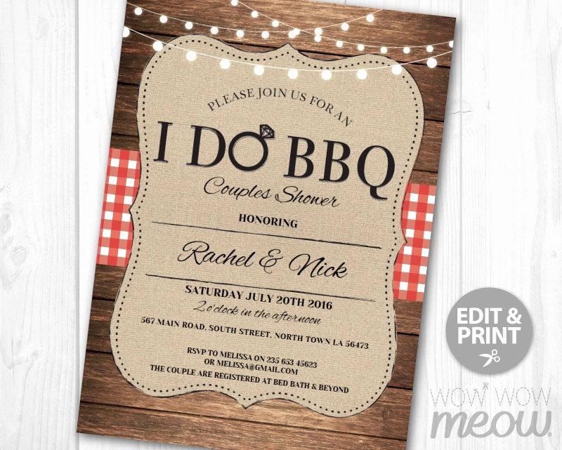 I Do Bbq Invitations Elegant I Do Bbq Invitation Couples Shower Printable Invite Engagement