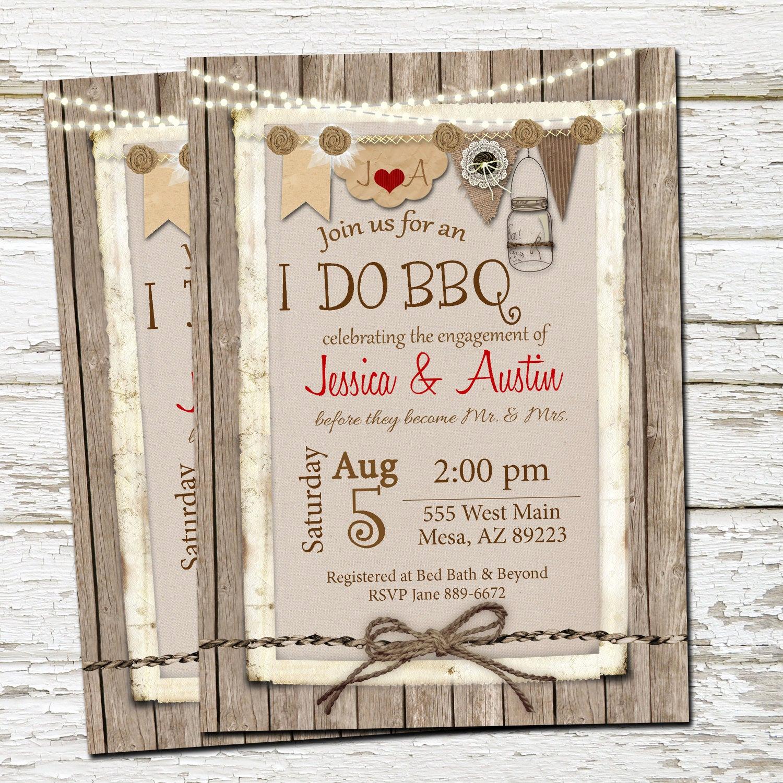 I Do Bbq Invitations Unique I Do Bbq Invitation Engagement Party Burlap Invite Lights