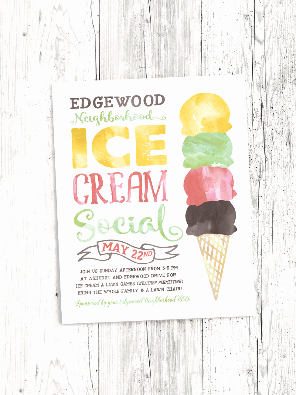 Ice Cream social Flyer Best Of Ice Cream social Flyer Electronic Print File Kids Ice Cream