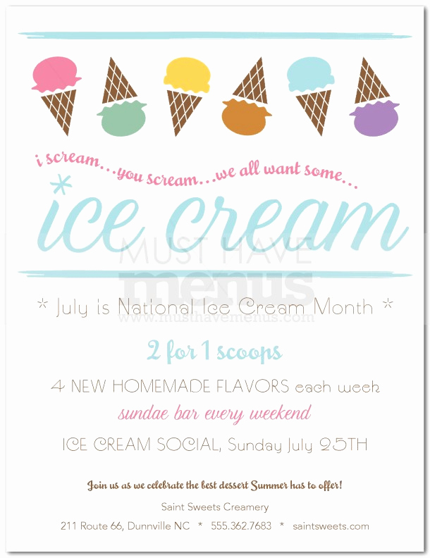 Ice Cream social Flyer Elegant Ice Cream social Flyer
