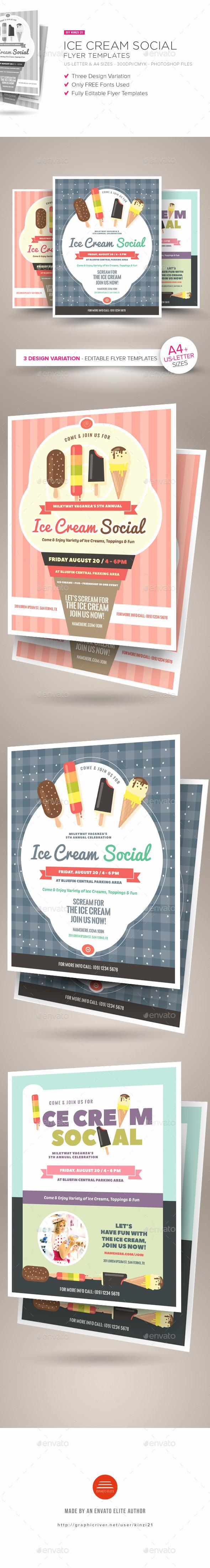 Ice Cream social Flyer Elegant Ice Cream social Flyer Templates by Kinzi21