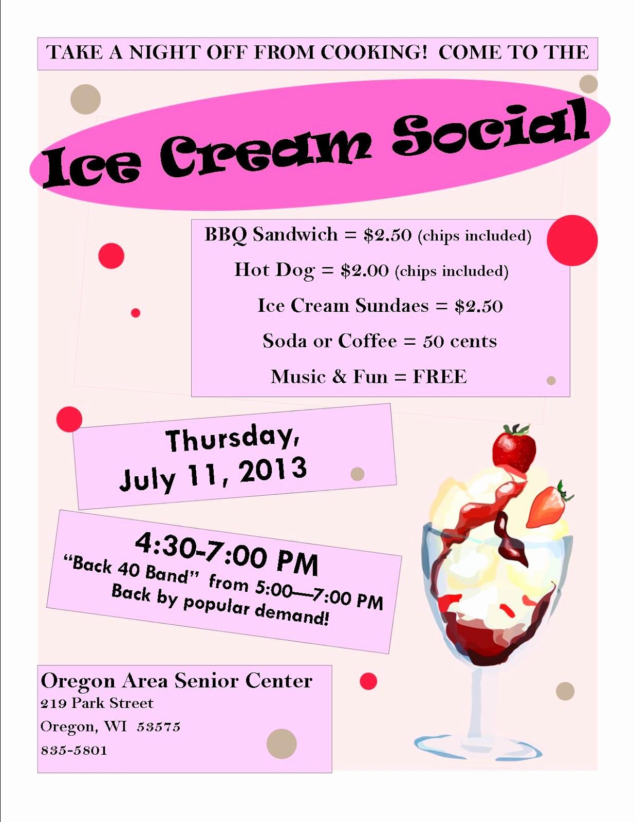 Ice Cream social Flyer Elegant oregon area Senior Center Council On Aging 07 01 2013