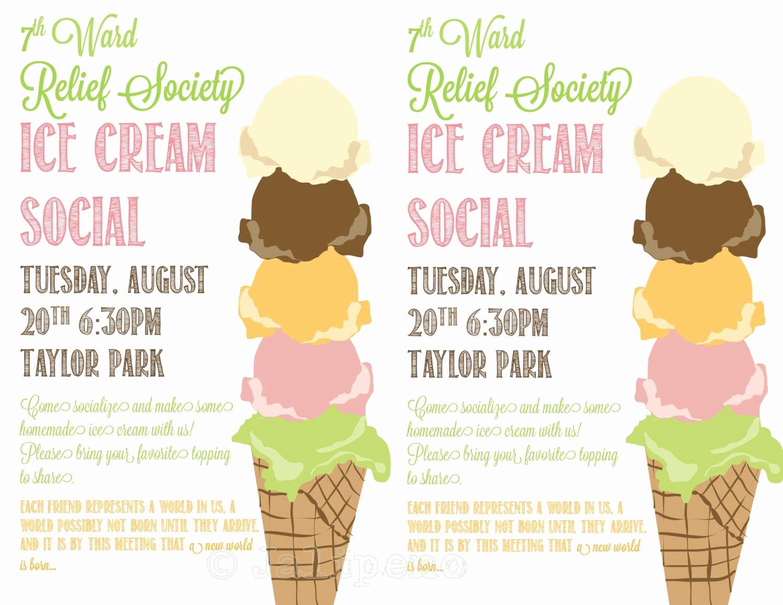 Ice Cream social Flyer Fresh Ice Cream social Flyer Invitation Digital Custom by