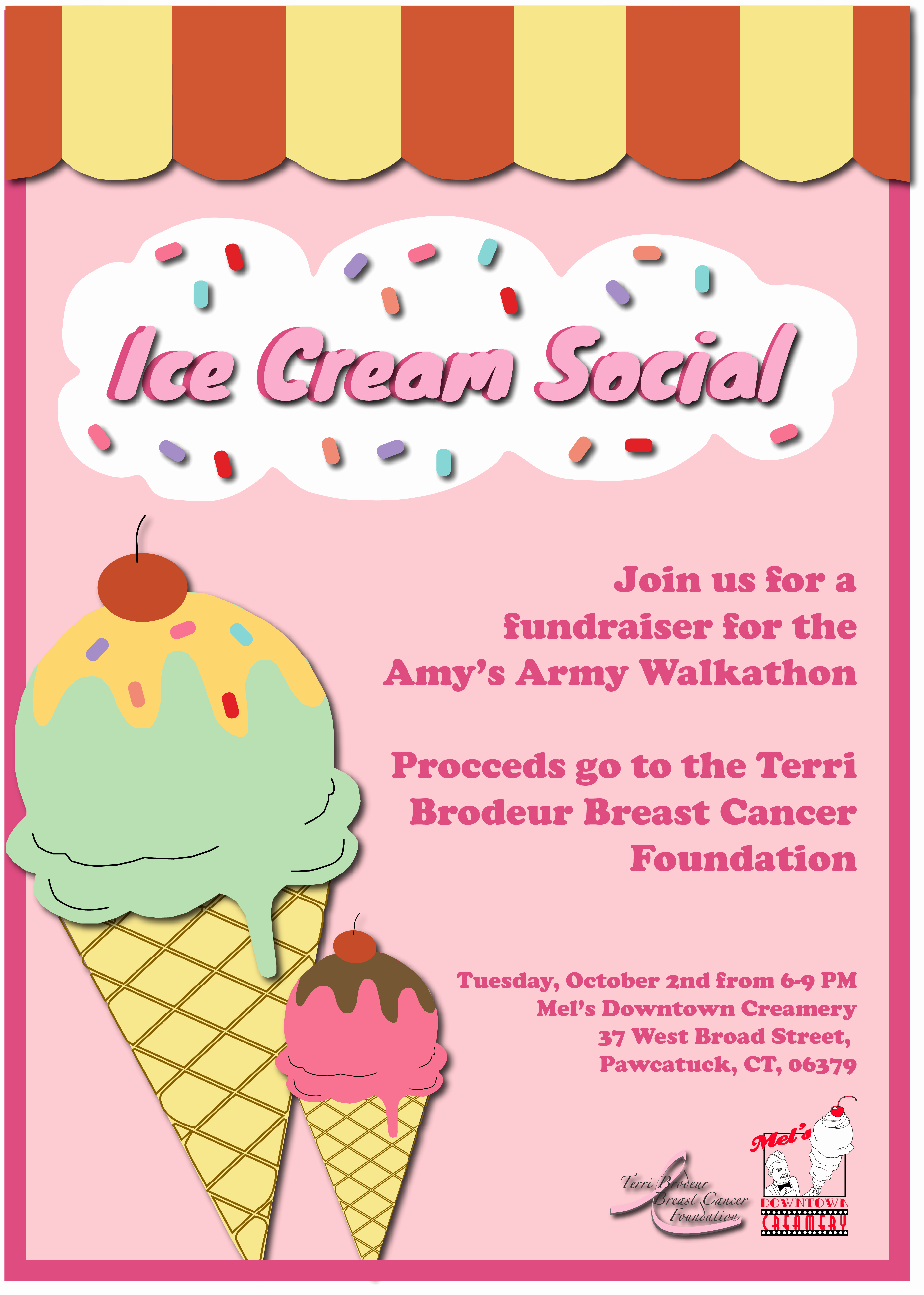 Ice Cream social Flyer Fresh Ice Cream social Flyer Terri Brodeur Breast Cancer
