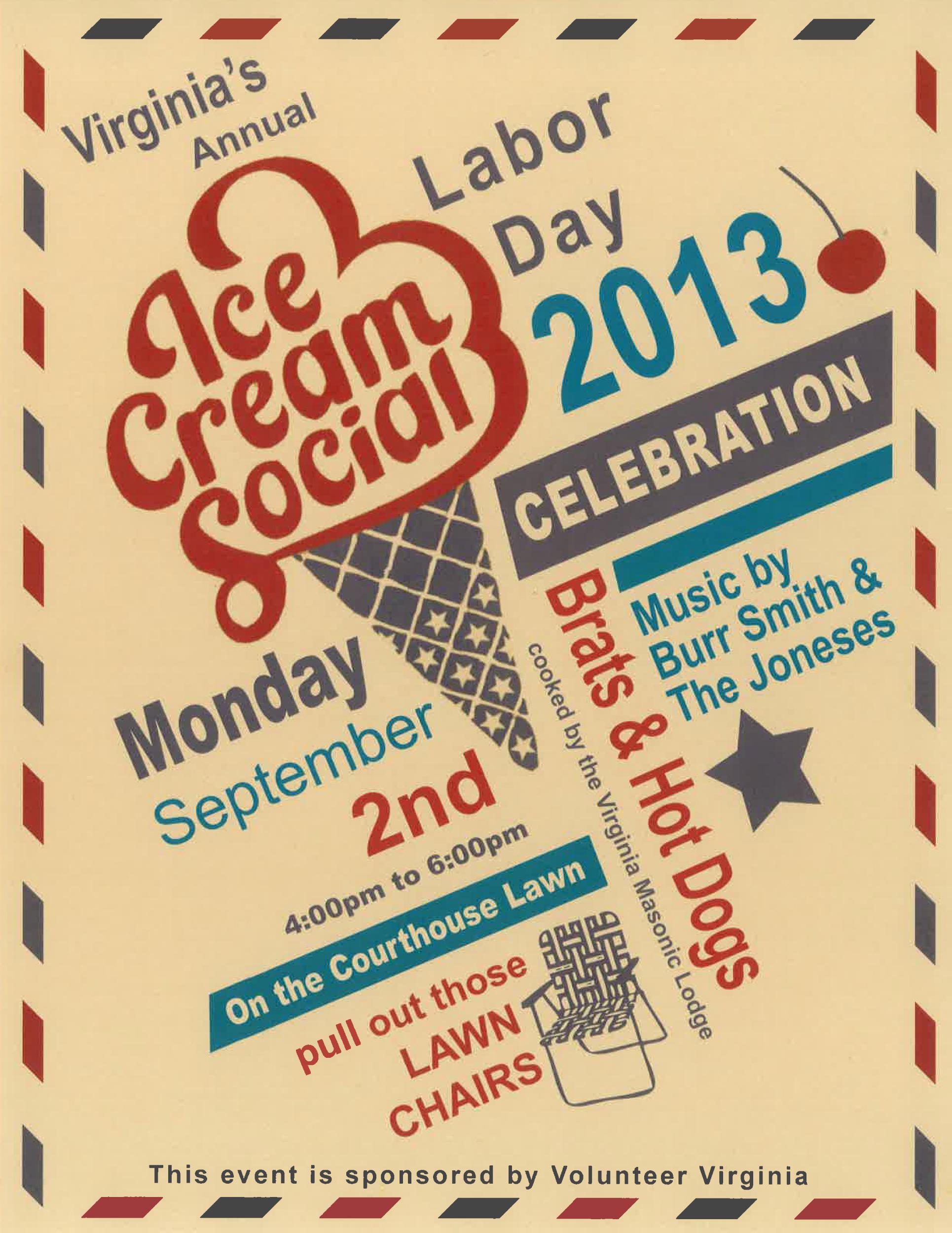 Ice Cream social Flyer Fresh Labor Day 2013 Flyer