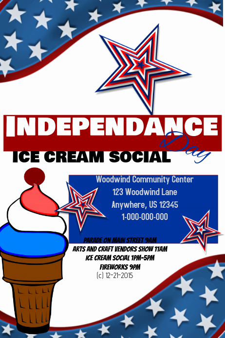 Ice Cream social Flyer Inspirational 4th July Ice Cream social Template