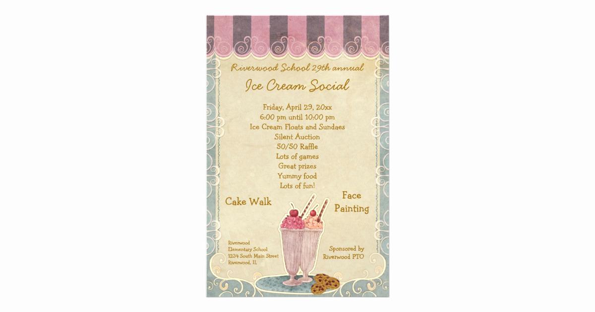 Ice Cream social Flyer Inspirational Ice Cream social Announcement Flyer
