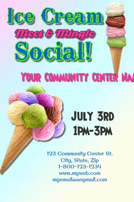 Ice Cream social Flyer Lovely Ice Cream social Template