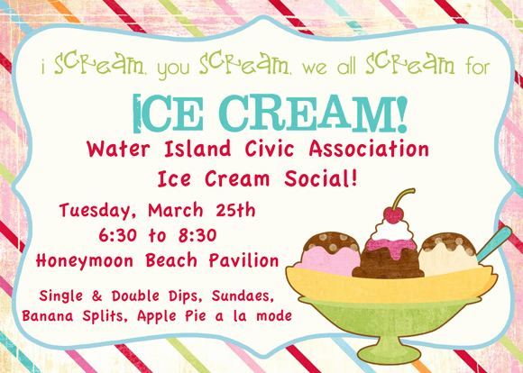 Ice Cream social Flyer New Water island Water island Civic association