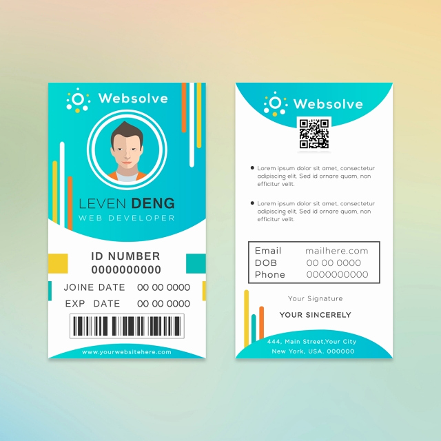 Identification Card Online Free Fresh Web Developer Id Card Design Template for Free Download On