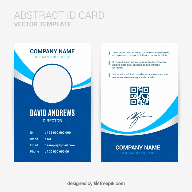 Identification Card Online Free Inspirational Abstract Id Card Template with Flat Design Vector