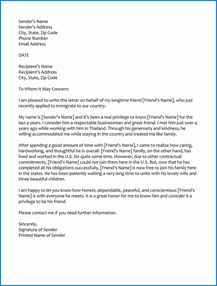 Immigration Letter for A Friend Best Of Good Moral Character Letter for Immigration Samples