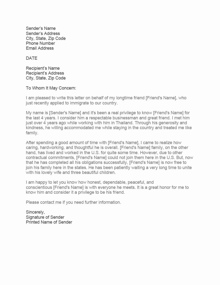 Immigration Letter for A Friend Elegant 36 Free Immigration Letters Character Reference Letters