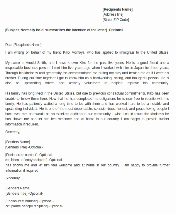 Immigration Letter for A Friend Luxury 15 Reference Letters