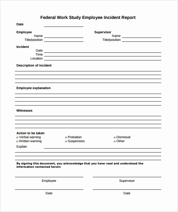 Incident Report Template Word Elegant 16 Employee Incident Report Templates Pdf Word Pages