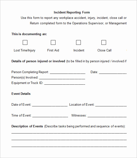 Incident Report Template Word Unique 14 Employee Incident Report Templates Pdf Doc