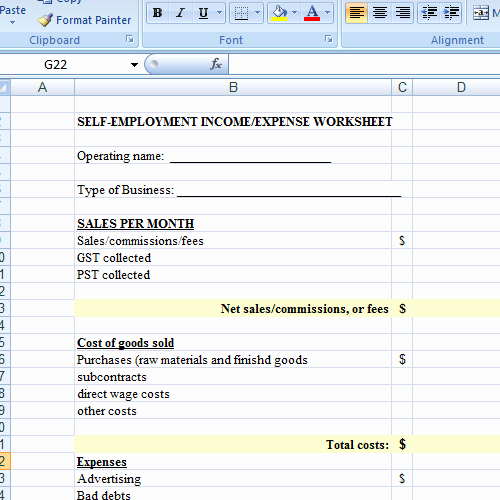Income and Expense Worksheet Best Of Self Employed Spreadsheet