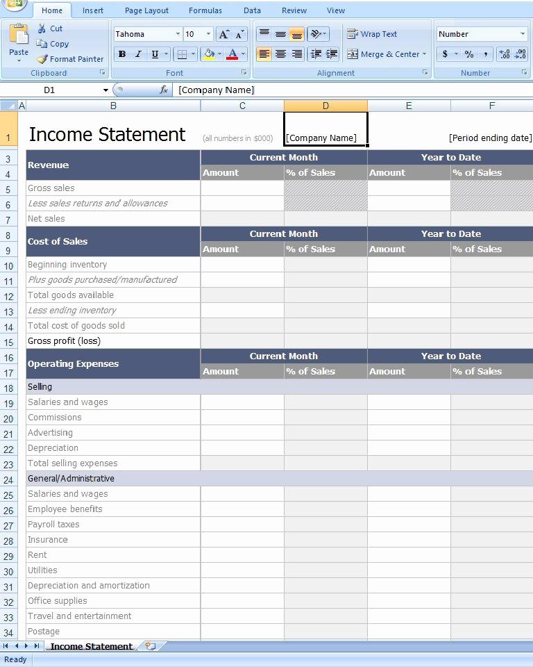 Income Statement Template Excel Elegant Download In E Statement Template Excel From