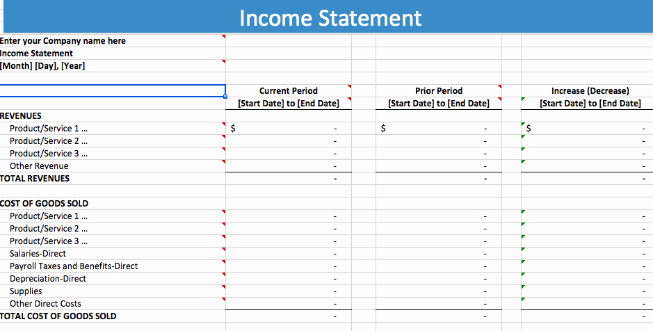 Income Statement Template Excel Luxury 5 Free In E Statement Examples and Templates