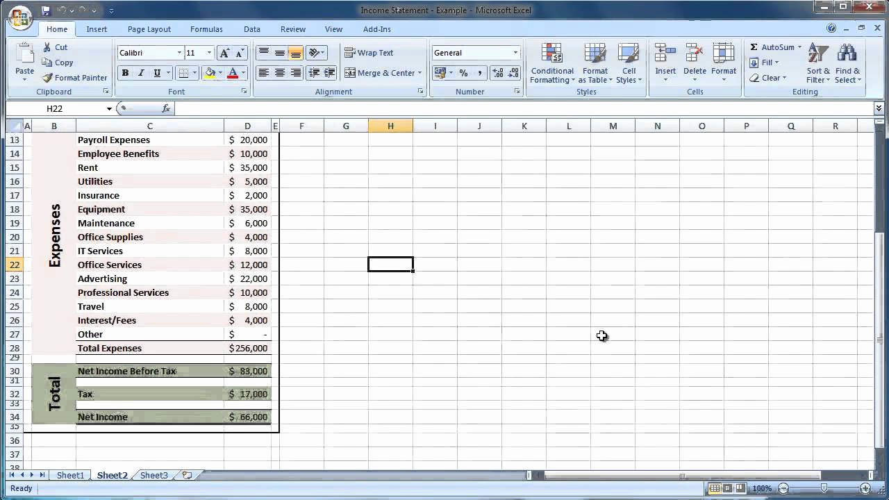 Income Statement Template Excel New Excel 2007 How to Create An In E Statement Guide Level
