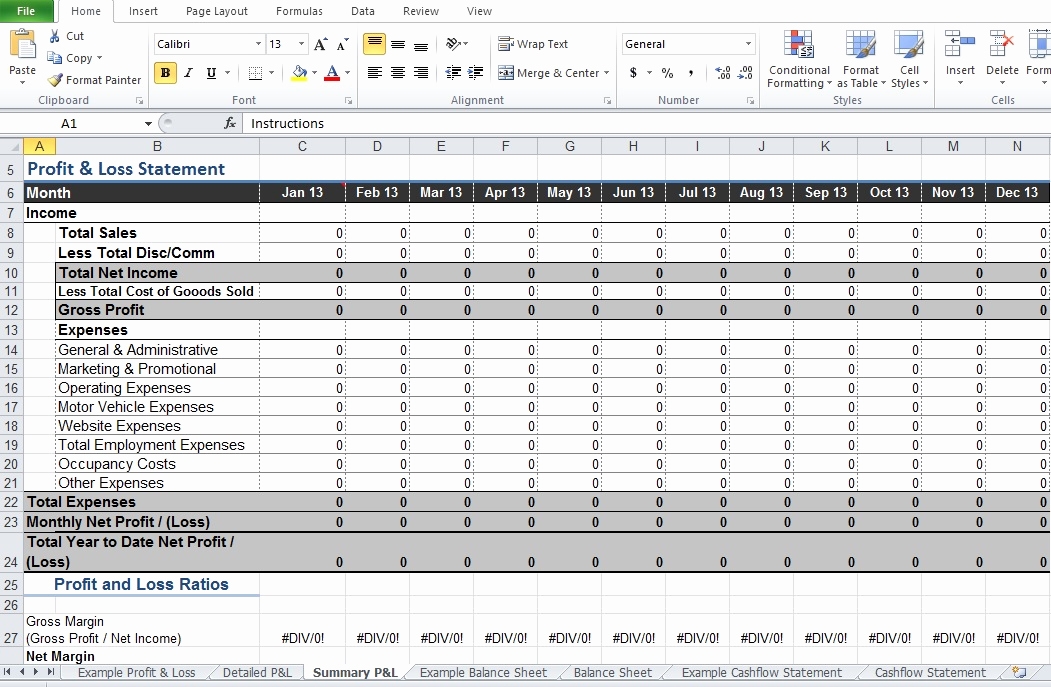 Income Statement Template Excel Unique Restaurant Monthly Profit and Loss Statement Template for