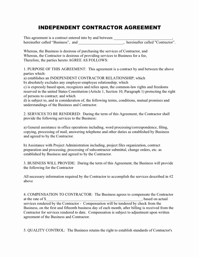 Independent Contractor Agreement Pdf Best Of Independent Contractor Agreement Free Documents