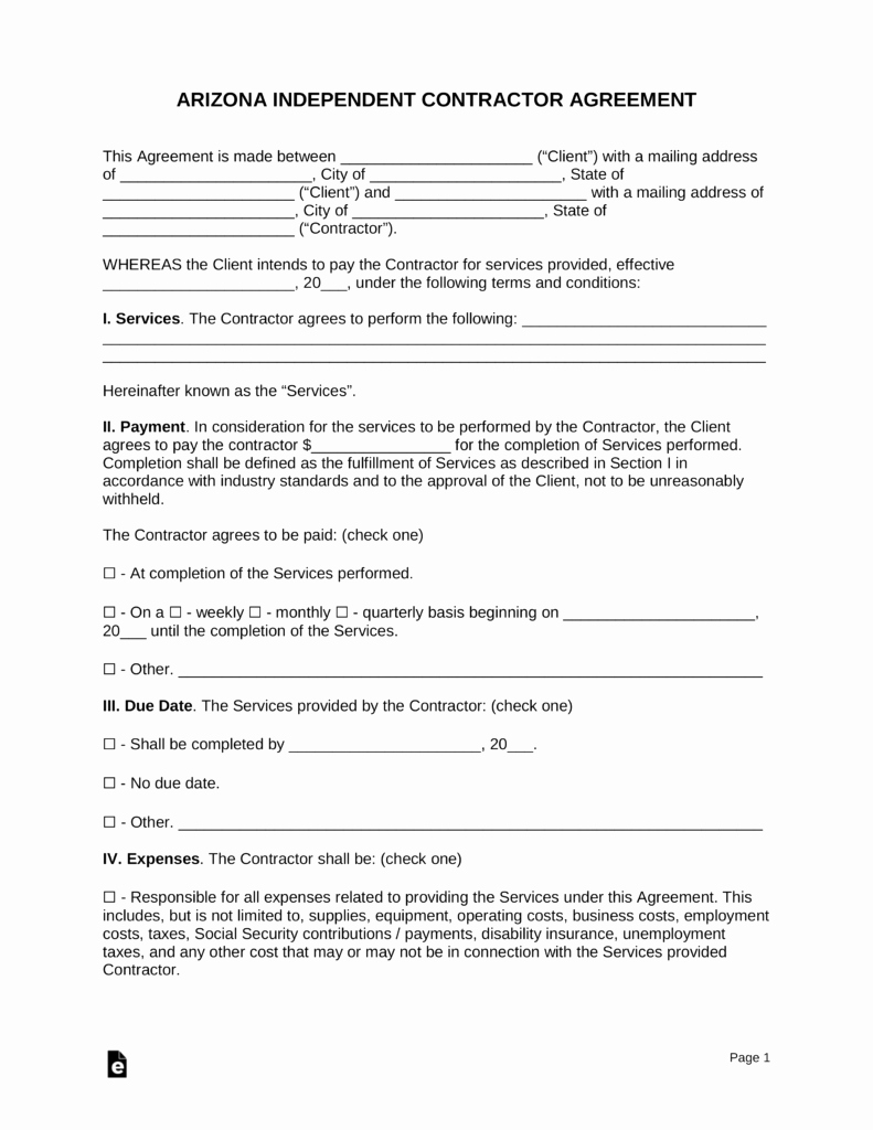 Independent Contractor Agreement Pdf Elegant Free Arizona Independent Contractor Agreement Pdf