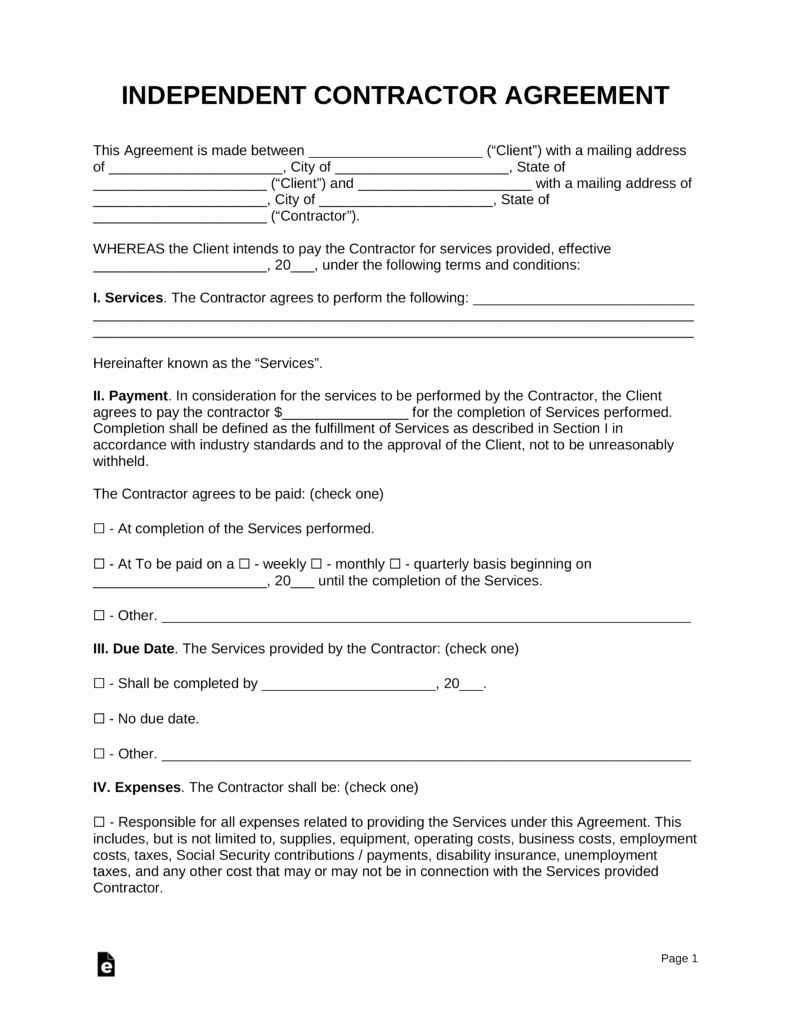 Independent Contractor Agreement Pdf Elegant Free Independent Contractor Agreement Template Pdf