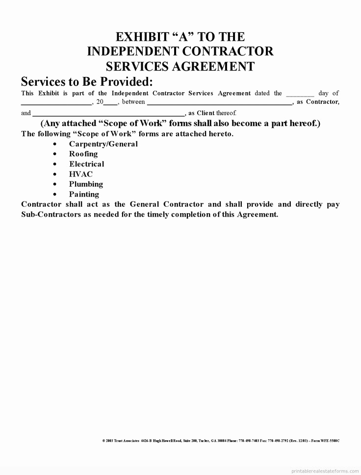 Independent Contractor Agreement Pdf Elegant Printable Sample Independent Contractor Agreement form