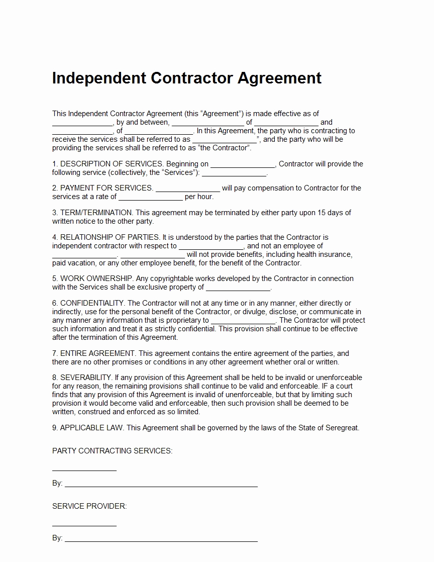 Independent Contractor Agreement Pdf Inspirational Independent Contractor Agreement Template Sample