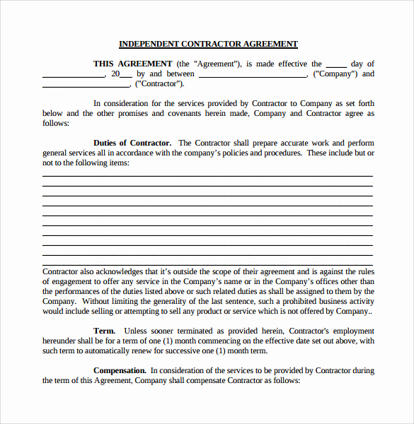 Independent Contractor Agreement Pdf Luxury Independent Contractor Agreement Pdf